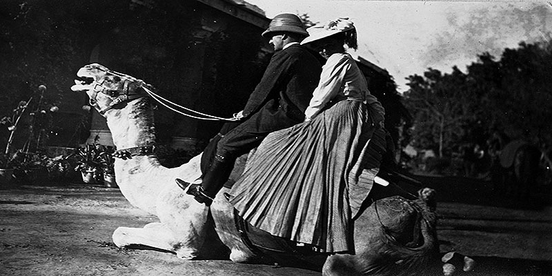 Louisa Pesel on a camel at the Khyber Pass in India, 1906. Image credit: Special Collections, University of Leeds