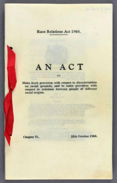 Photograph of cover of Race Relations Act 1968