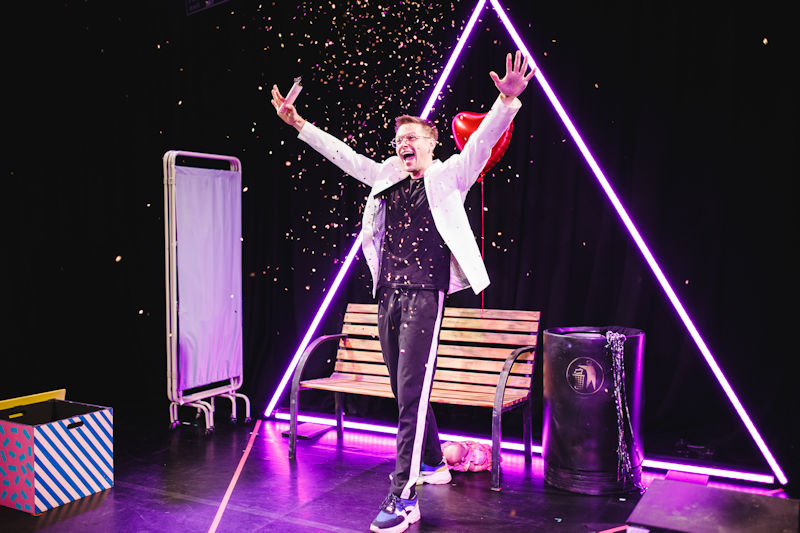 Nathaniel Hall performing in his one-man show
