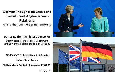 May and Merkel on poster advertising German thoughts on Brexit and the future