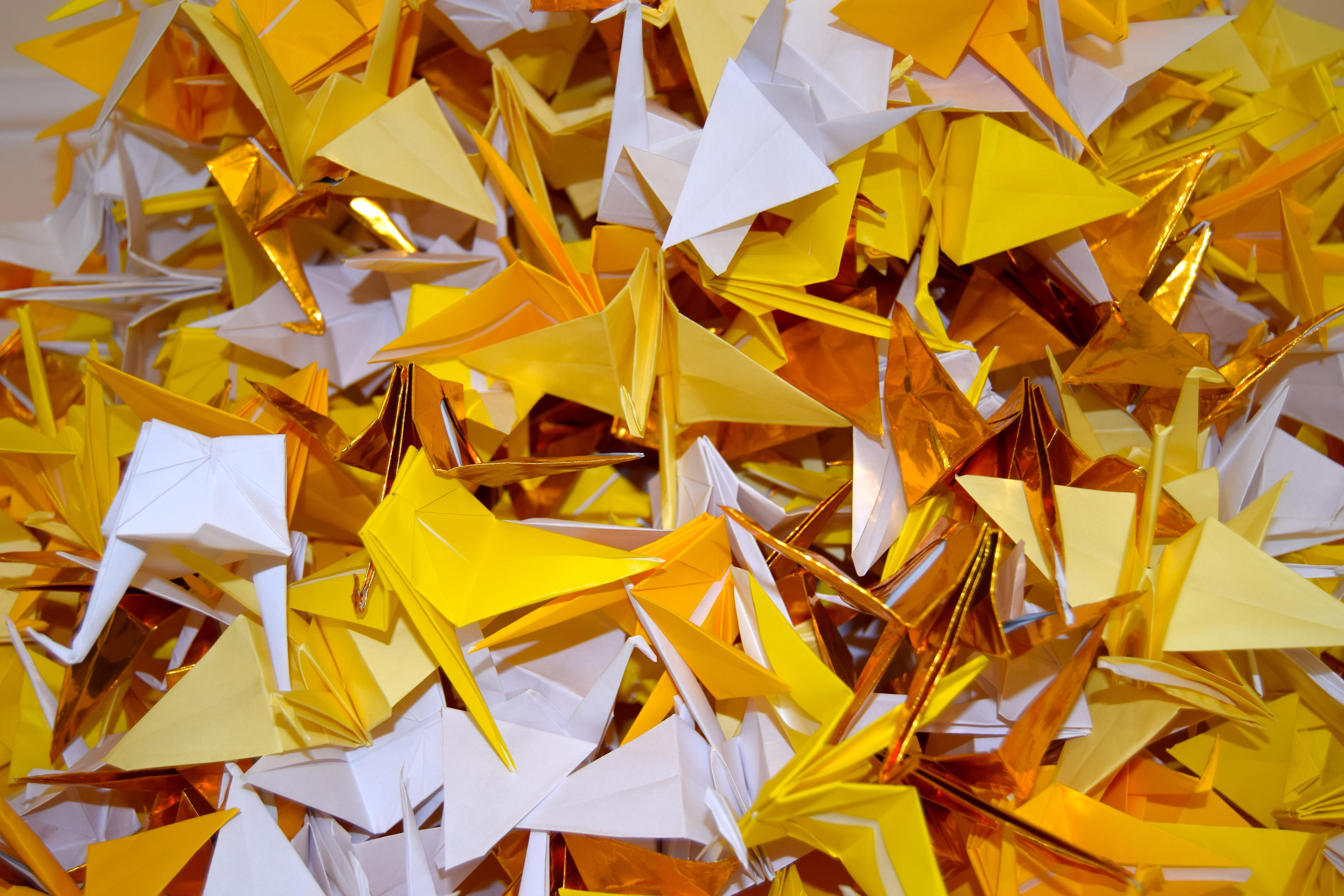 Victoria Shaw, Working on a Wish, April 2020, 1000 Origami Peace Cranes.