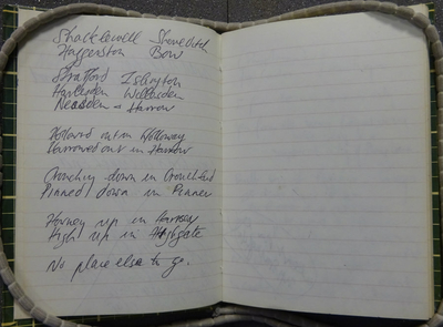 Photograph of a notebook in the Special Collections