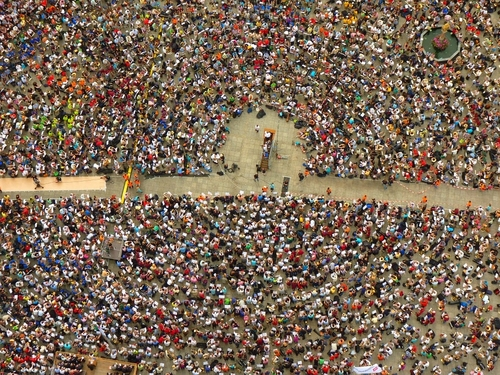Aerial photograph of a large collection of people