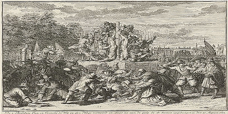 Bernard Picart after Romeyn de Hooghe, Mutilation of the bodies of the brothers