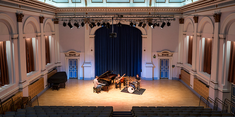 School of Music, Clothworkers Centenary Concert Hall with instruments set up
