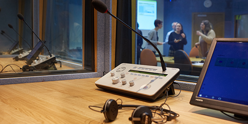 Find out about careers in conference interpreting and try interpreting in a booth