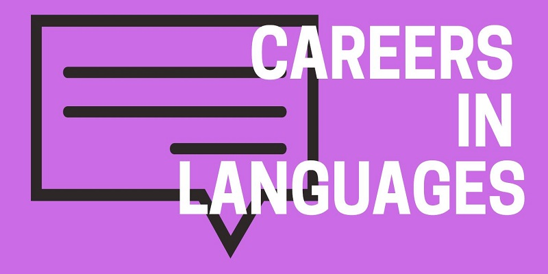 Purple poster slide with speech bubble and white text - Careers in Languages