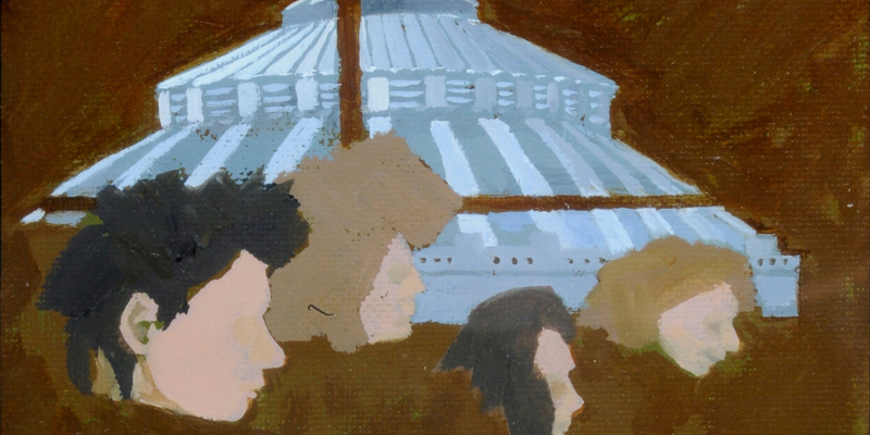 Painting of Brotherton Dome and meeting in Room 404, New Arts Block, Fine Arts dept., 15 Feb 1989, Stephen Chaplin