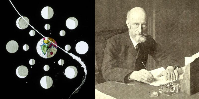 Detail from a magic lantern slide showing the moon and its phases, plus a photo of Professor Louis Compton Miall taken by EE Unwin