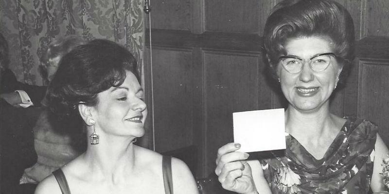 Back and white photograph of two women, circa 1960s