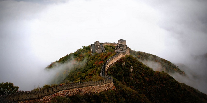 Aerial shot of the Great Wall of China in mist