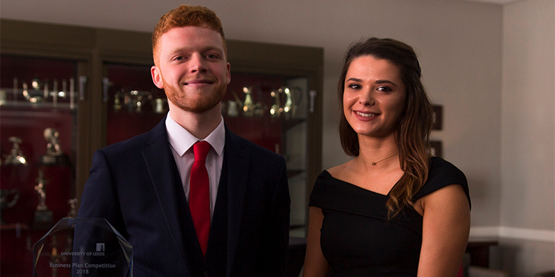 Hannah Kallend and Jacob Twomey win the University of Leeds Business Plan competition