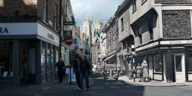 A black and white image of an old York street juxtaposed onto a colour photo of modern day York with York Minster in the background.