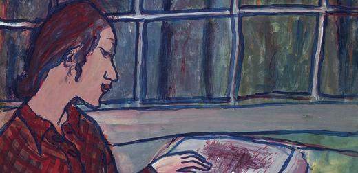 Painting by Charlotte Salomon: The Art Student Charlotte Kann Contemplates Amadeus Daberlohn's Manuscript Orpheus (main part painting no. 369), Life? or Theater?, 1941-42.