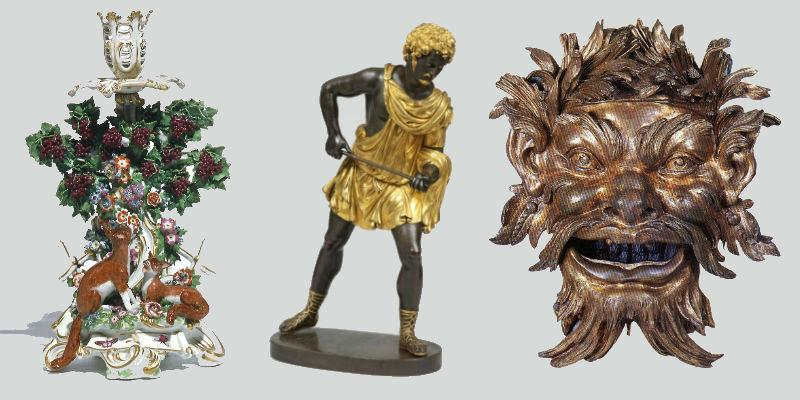 Images of antiques: pair of Chelsea candlesticks; Statuette Meleager Antico Mantua; bronze mask.