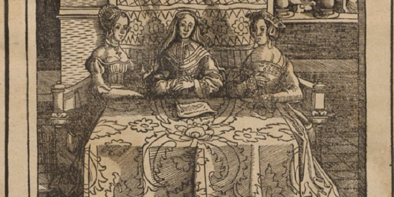 Old sketch drawing of three women sitting at a table.