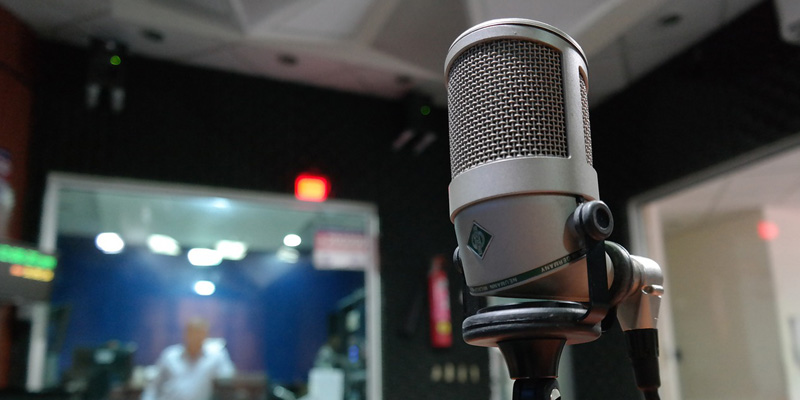 Microphone in radio station booth