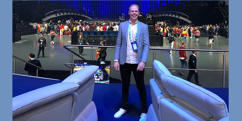 SMC graduate Joe Mason working at the Eurovision Song Contest