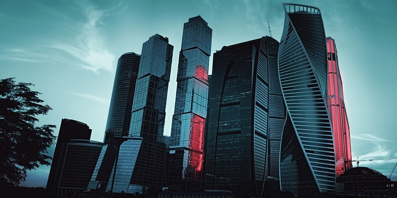 Moscow skyline - buildings at dusk with blue hue