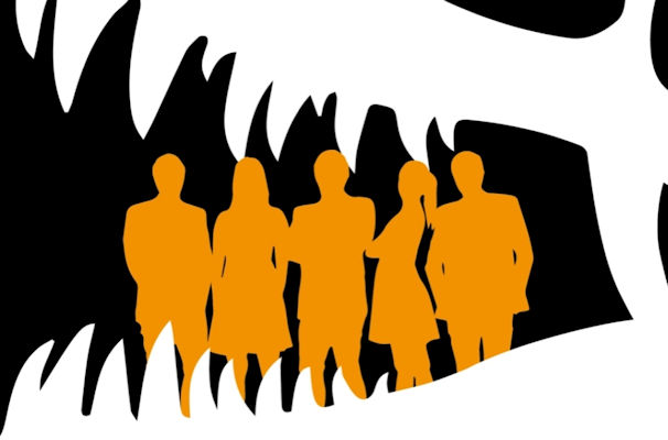 silhouette of a group of people in orange