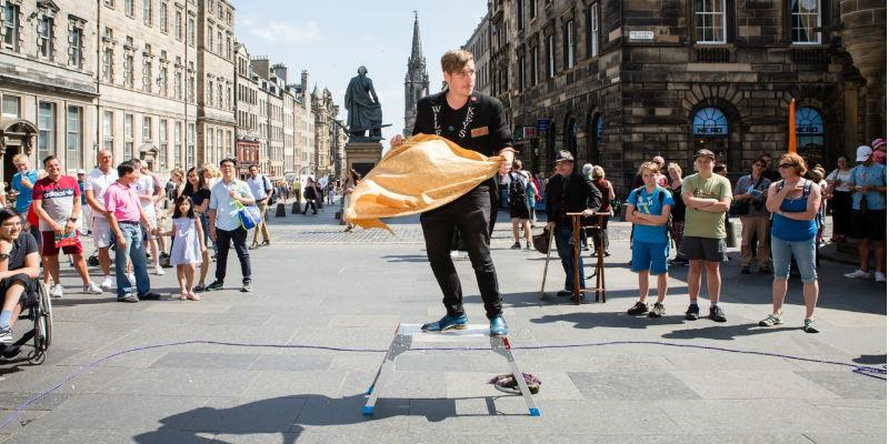 Photograph of Sympathetic Magick street performance at Edinburgh Festival, 2018.