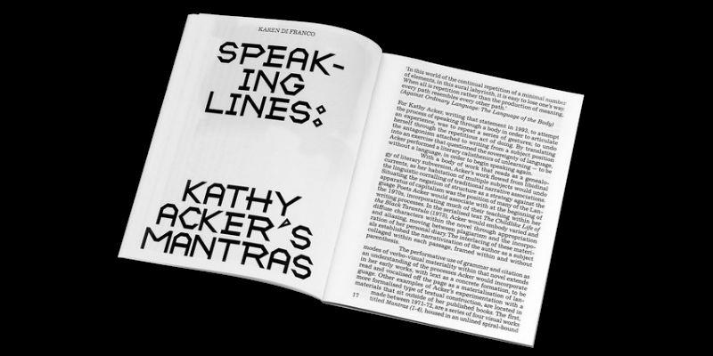 Image of magazine spread of Karen Di Franco's essay 'Speaking Lines: Kathy Acker's Mantras', in Tinted Window, issue 2, Autumn 2019.