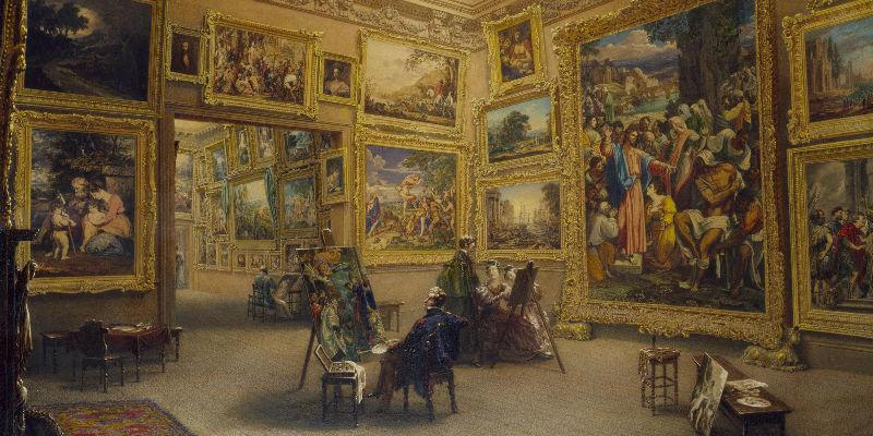 Image: The National Gallery when at Mr J.J. Angerstein's House, Pall Mall, 1824-34, Frederick MacKenzie © Victoria and Albert Museum, London.