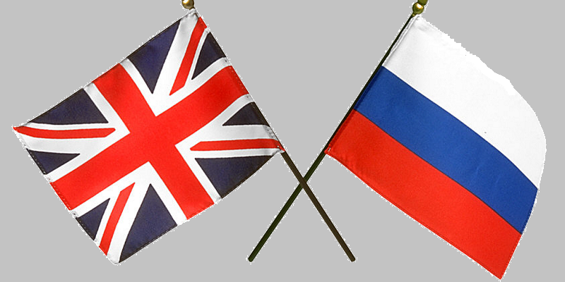 The flags of the UK and Russia