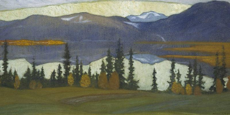 View from Klocka. Helmer Osslund. Acrylic and gouache on board. 26 x 56 cm. Image_Erik Cornelius l Nationalmuseum