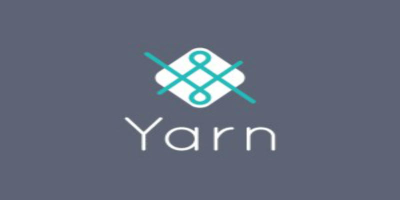 A white logo with turquoise detail on a blue-grey background with the word 'yarn' written underneath.