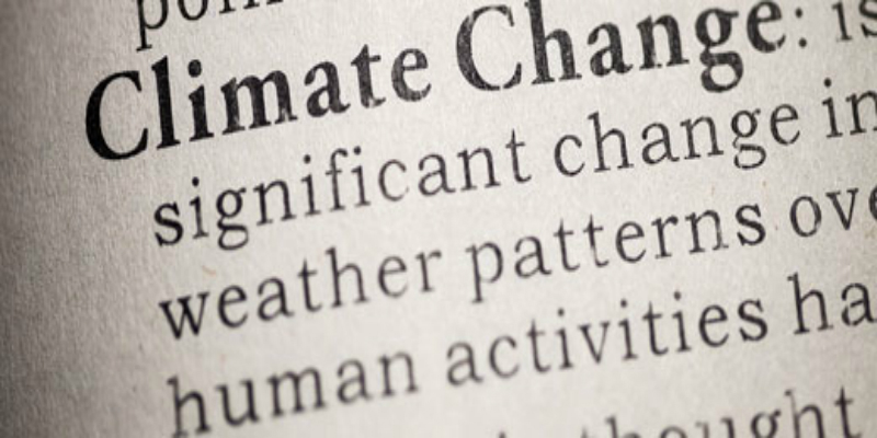 An image of text in a dictionary with the spelling and explanation of the definition of 'climate change'.
