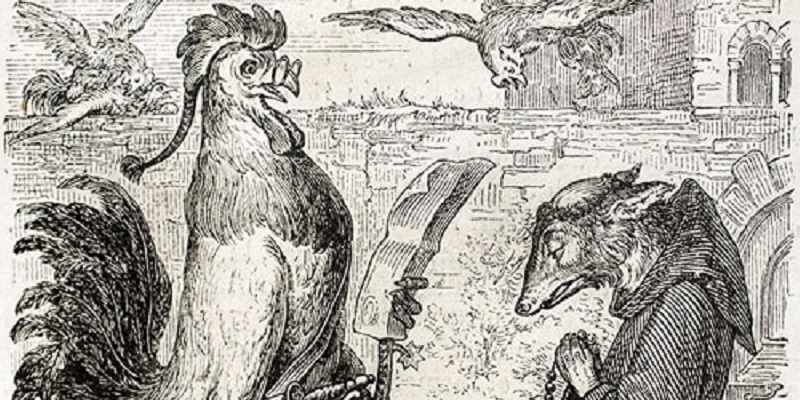 Old fable drawing of a cockerel speaking to a fox dressed as a monk