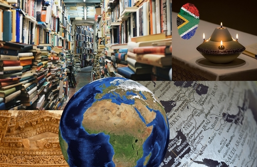 A collage of images including a globe, an untidy row of bookshelves, a candle, an excerpt of a map and roof of a building