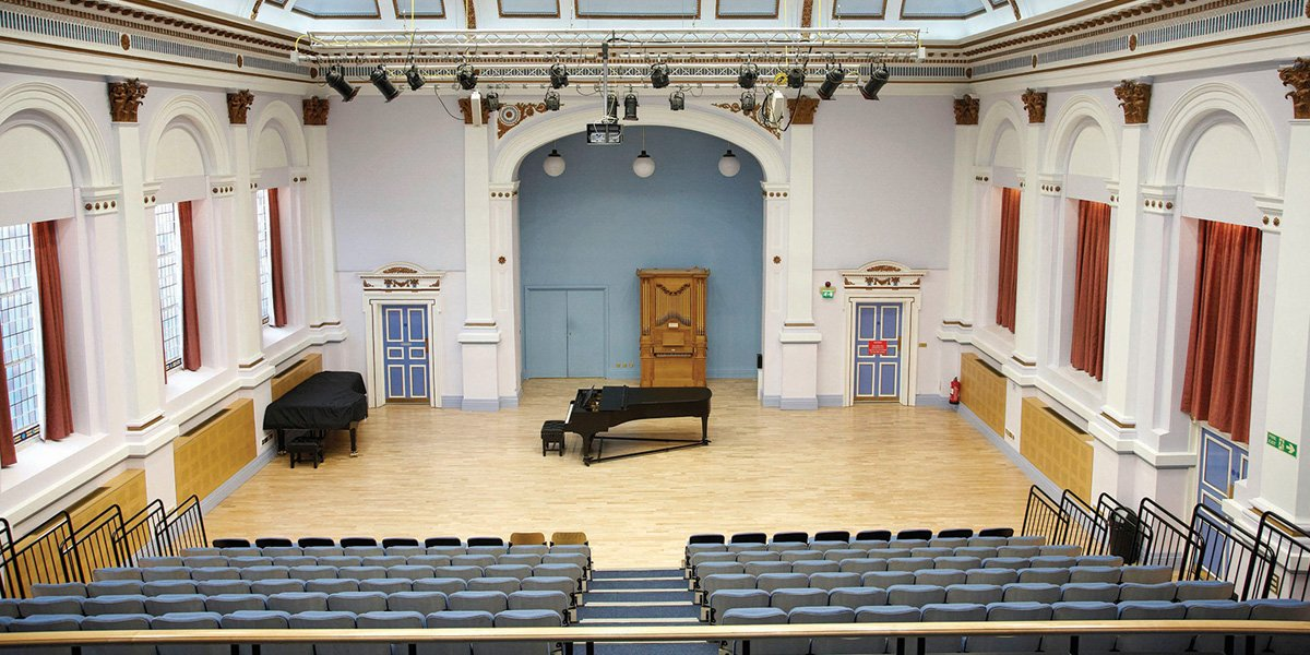 Centenary hall, with piano in the centre of the hall