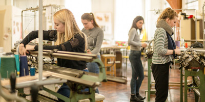 Students in a textile workshop