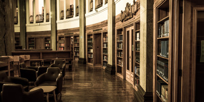 Shelves of books at the Brotherton Library
