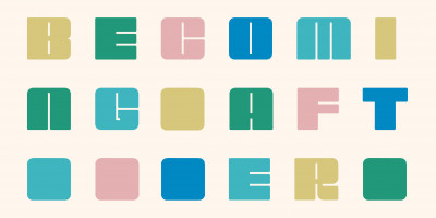 Colour palette design, spelling out 'Becoming After'