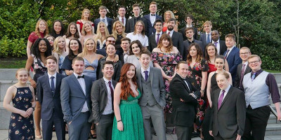 Group photo of Leeds Student Television outside at the 2018 National Student Television Association Awards