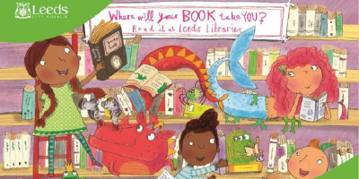 Cartoon drawing of children in a library with fantasy, storybook characters.