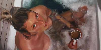 Detail from a self portrait oil painting by Abigail McGourlay in the bath drinking tea