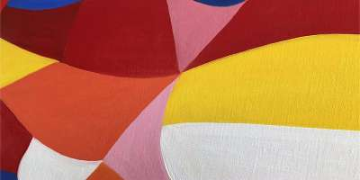 Painting featuring red, orange and yellow abstract shapes on canvas