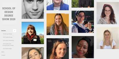 Screen grab of Design degree show 2020 website featuring images of students