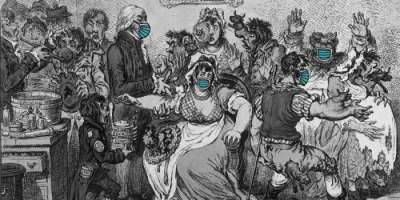 Detail from image of Edward Jenner vaccinating patients. Edited etching by J Gillray 1802. Wellcome Trust collection