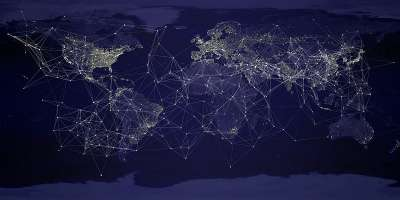 Abstract digital image of dark blue world map with interconnecting lines