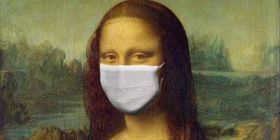 Parody of Mona Lisa - wearing PPE face mask
