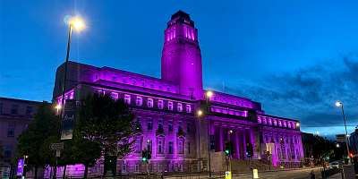 Parkinson Building lit up in purple to express support for the #BlackLivesMatter movement in the fight against racism.