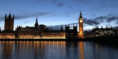 The Houses of Parliament in London at dusk