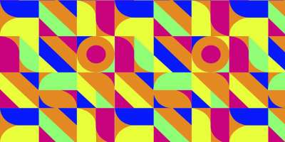 Abstract design with geometric shapes in various bold colours