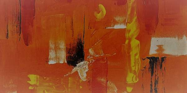 Abstract painting of orange, brown and yellow colours